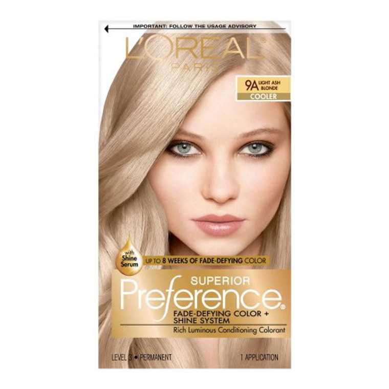 Loreal Superior Preference Hair Color, 9A Light Ash Blonde - 1 Ea