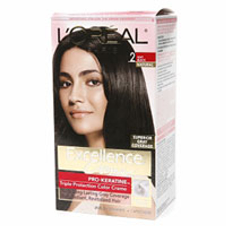 Loreal Excellence Creme Hair Color, Soft Black # 2 - Kit