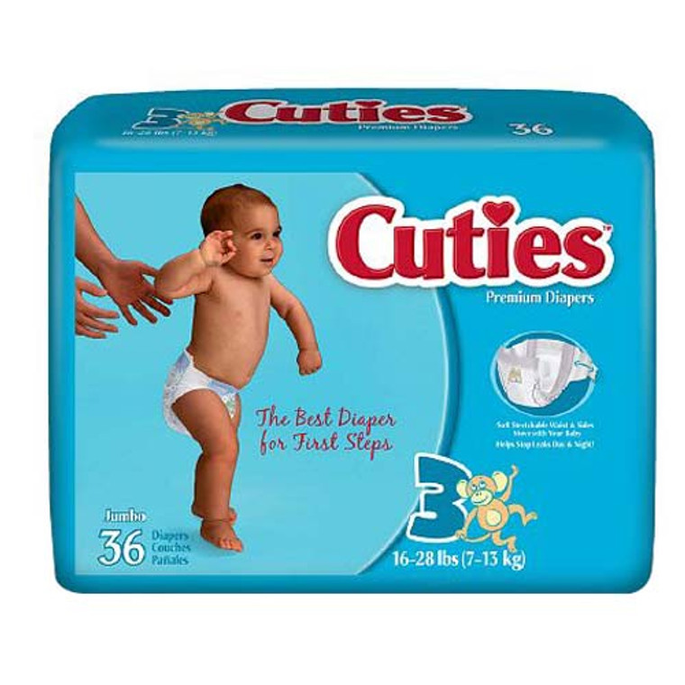 Cuties Premium Baby Jumbo Diapers 16-28 Lbs, Size 3 - 36 Ea, 4 Pack