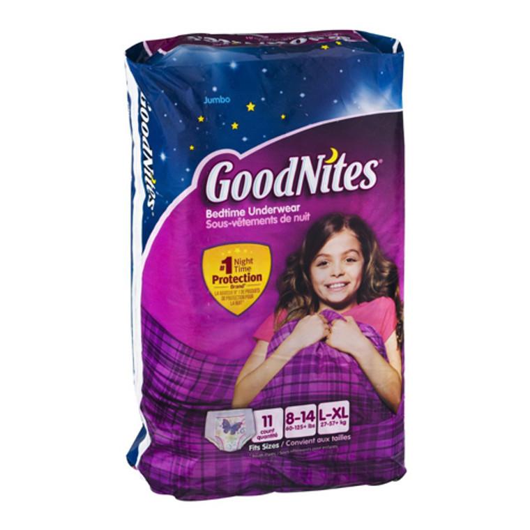 Goodnites Bedtime Girls Underwears Jumbo 60 To 125 Plus Lbs, Large/Extra Large - 11 Ea, 4 Pack