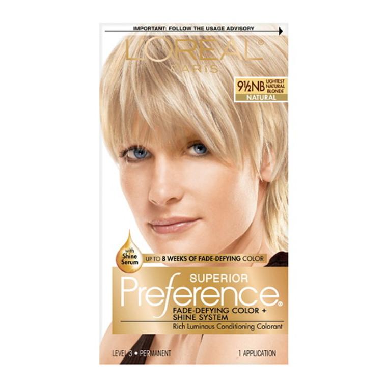 Loreal Superior Preference Hair Color, 9.5Nb Lightest Natural Blonde - 1 Ea
