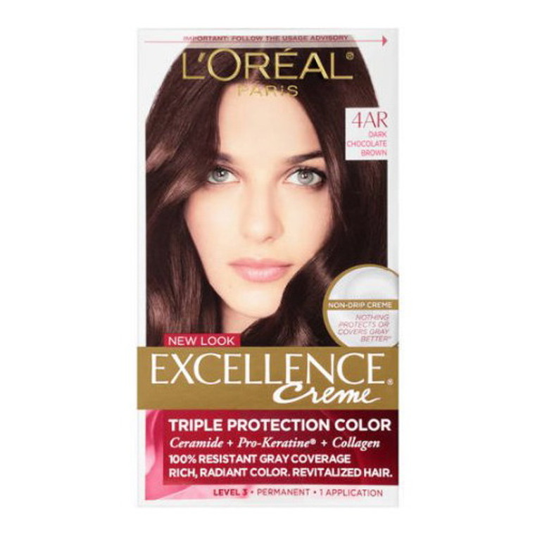 Loreal Excellence Triple Protection Hair Color Creme, 4Ar Dark Chocolate Brown - Kit