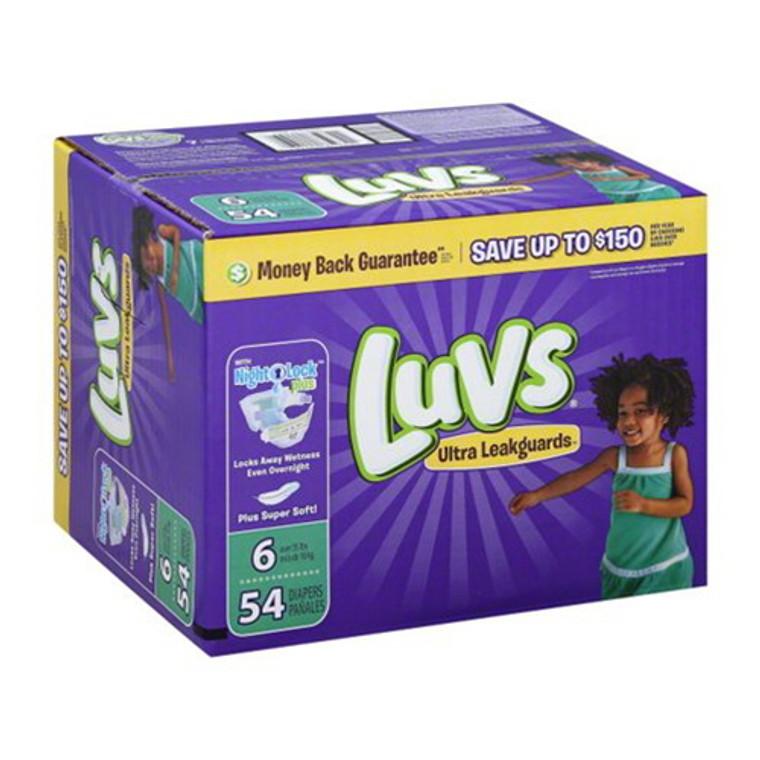 Luvs Ultra Leakguards Diapers, Size 6, 54 Ea