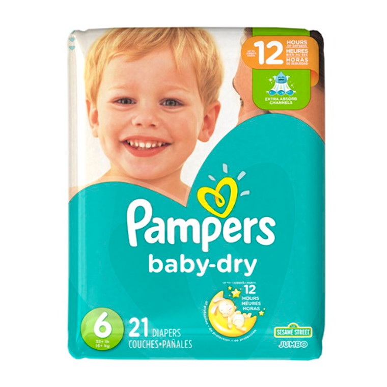 Pampers Baby Dry Diapers Size 6, 21 Diapers/Pack, 4 Pack