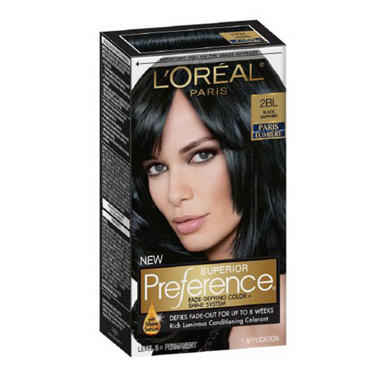 Loreal Paris Superior Preference Hair Color, 2Bl Black Sapphire Paris Lumiere - 1 Kit