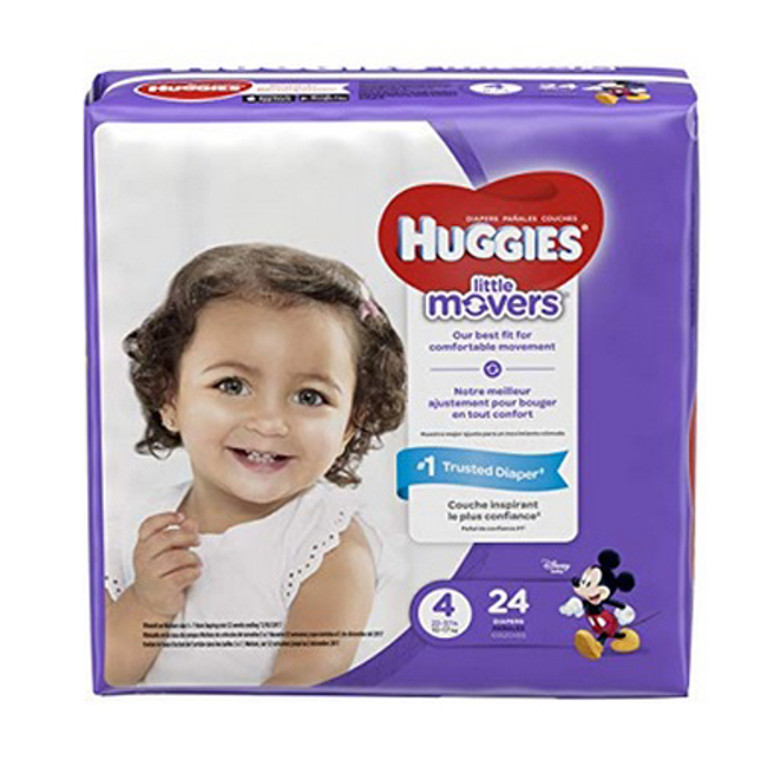 Huggies Little Movers Diapers, Size 4, 24 Ea, 4 Pack