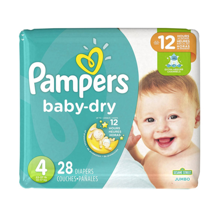 Pampers Baby Dry Diapers Jumbo, Size 4, 28 Ea