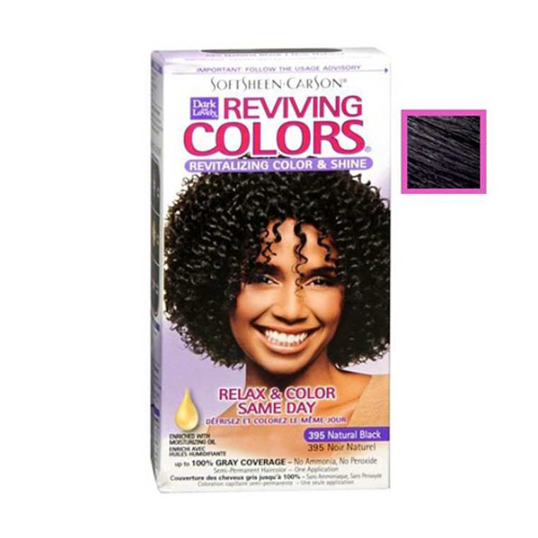 Dark And Lovely Relax And Color Same Day 395 Haircolor, Natural Black - 1 Kit