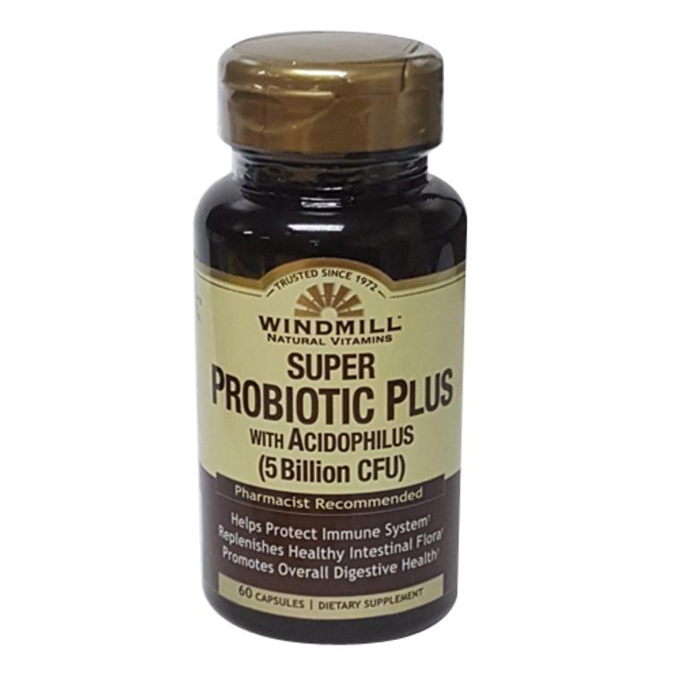Windmill Natural Vitamins Super Probiotic Plus with Acidophilus (5 Billion CFU) Capsules, 60 Ea