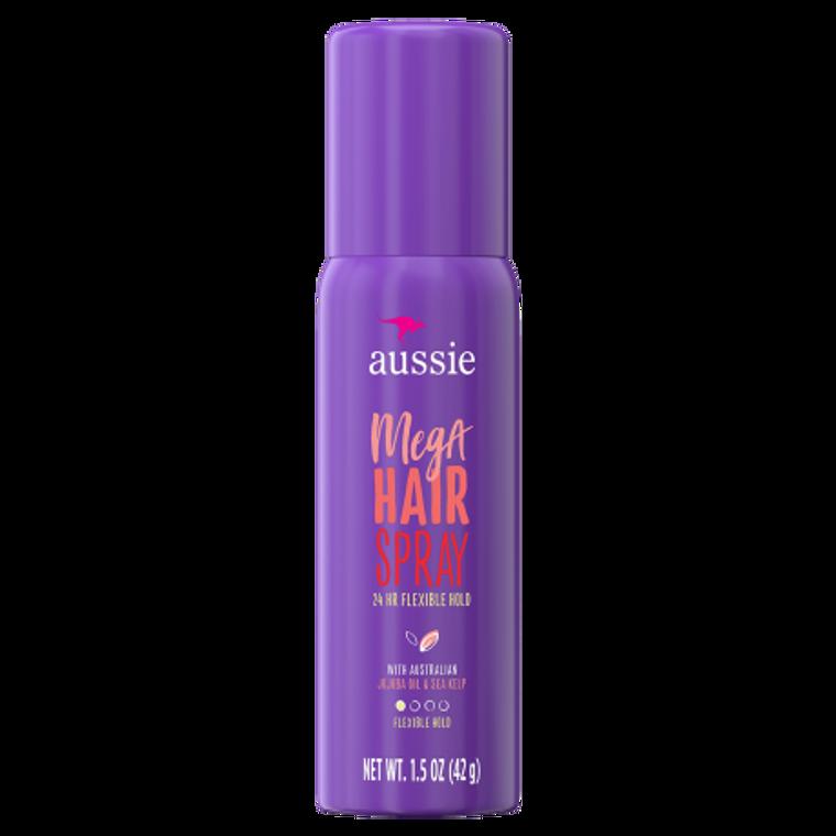 Aussie Mega Hairspray 24 Hour Flexible Hold, Travel Size - 1.5 oz