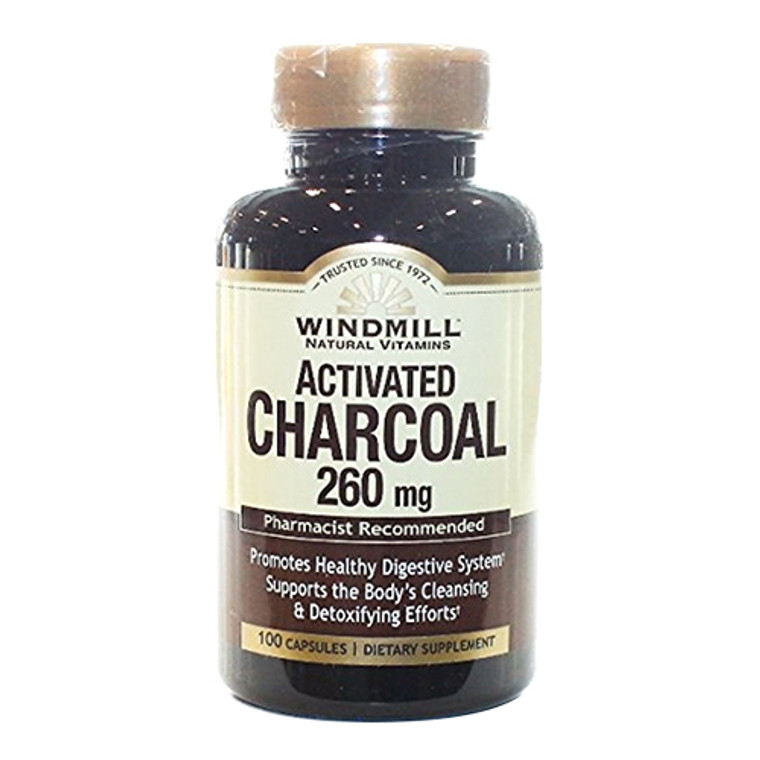 Windmill Natural Vitamins Activated Charcoal 260mg Capsules, 100 Ea