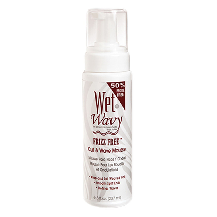 Wet N Wavy Frizz Free Curl And Wave Mousse For Synthetic Or Human Hair Weaves, 8 oz