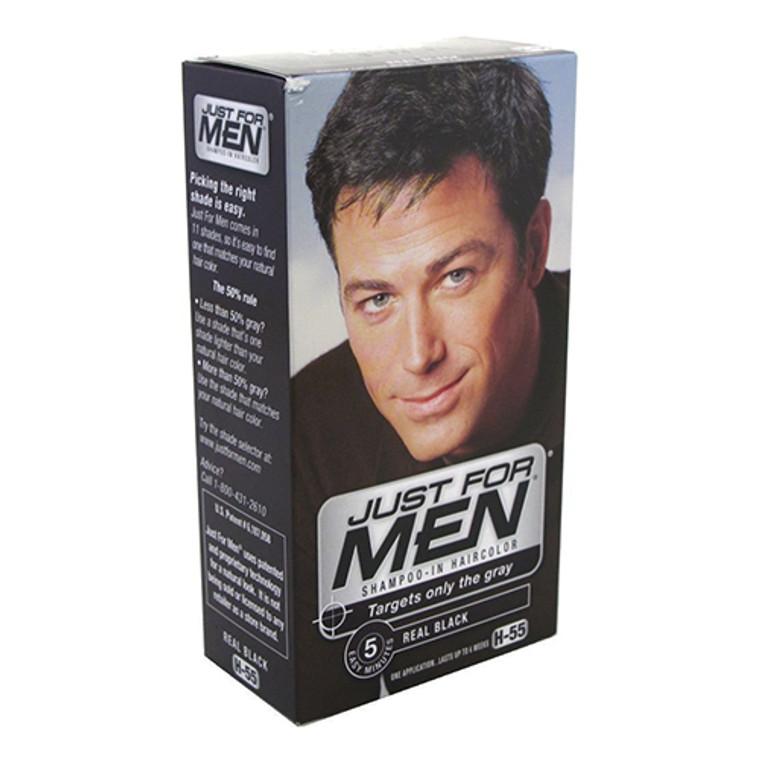 Just For Men Shampoo-In Hair Color, Natural Real Black - Kit