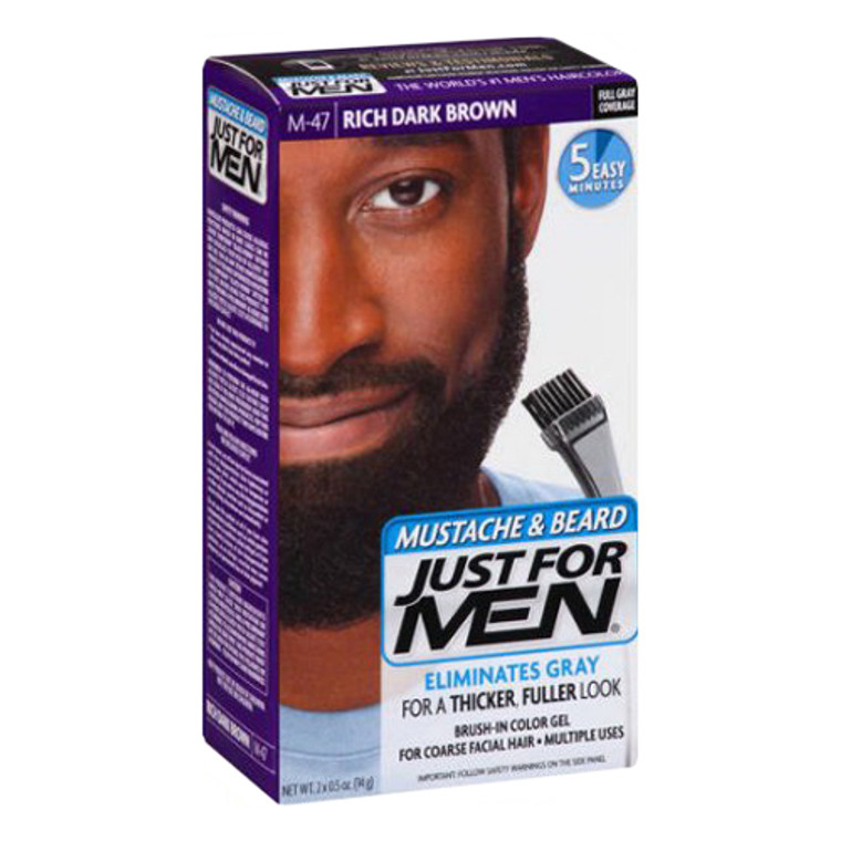 Just For Men Mustache And Beard Brush In Hair Color, M-47 Rich Dark Brown, 1 Kit