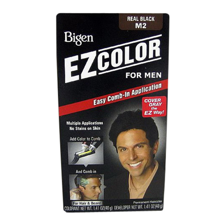 Bigen Ez Color For Men, M2 Real Black Easy Comb In Applicator, 1 Ea