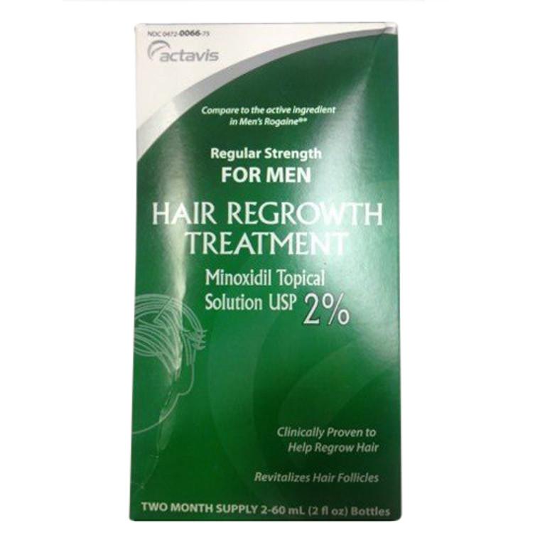 Mens Minoxidil 2% Regular Strength Hair Regrowth Treatment Solution, 2 Pack - 60 Ml Bottles