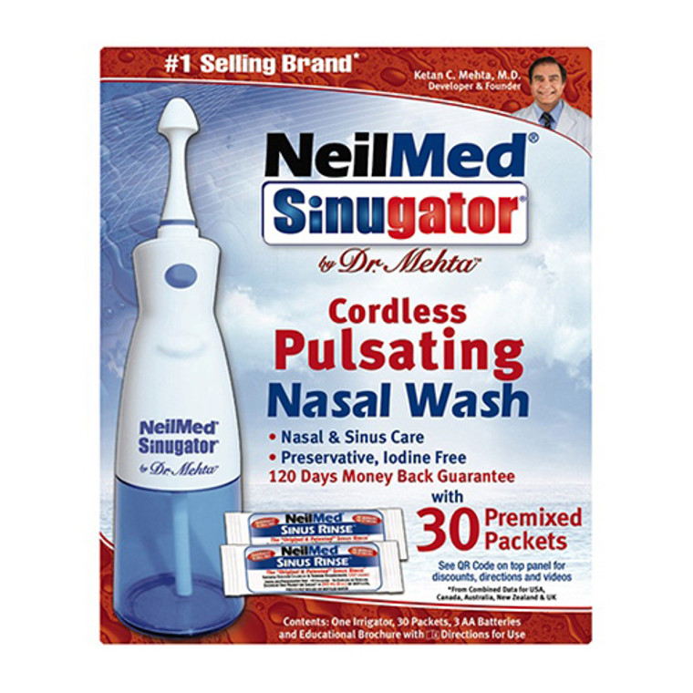 Neilmed Sinugator Cordless Pulsating Nasal Wash With 30 Pre-Mixed Packets - 1 Ea