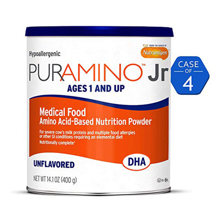 Nutramigen Puramino Junior Hypoallergenic Formula, Unflavored Powder 14.1 Oz, 4 pack