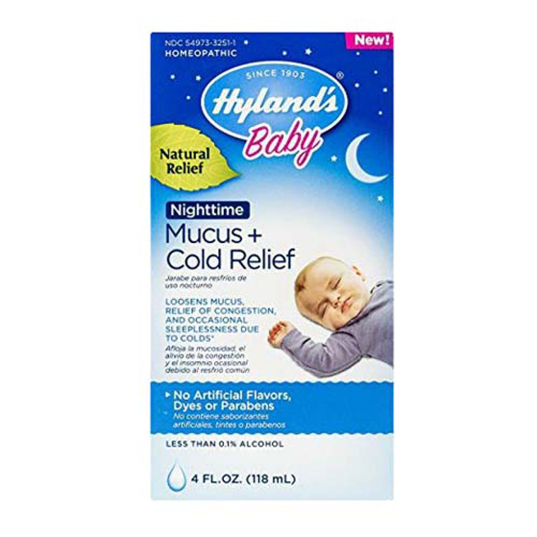 Hylands Baby Nighttime Mucus Plus Cold Relief Congestion, Homeopathic, 4 Oz