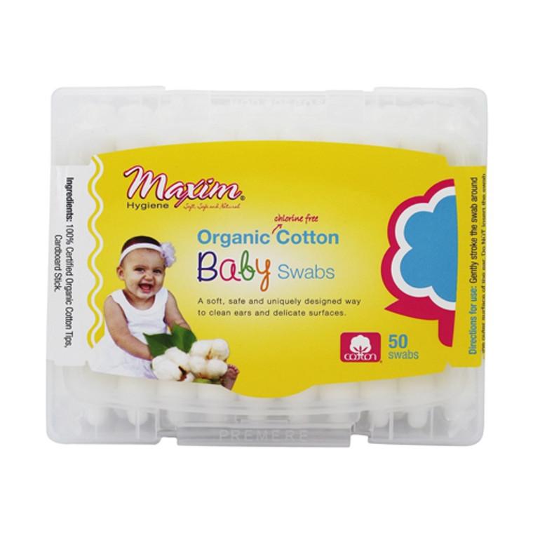 Maxim Hygiene Organic Chlorine Free Cotton Baby Swabs, 50 Ea