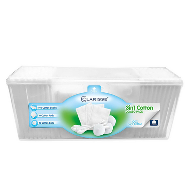 Clarisse 3 In 1 Combo Pack Cotton Swabs Balls Pads, 160 Ea