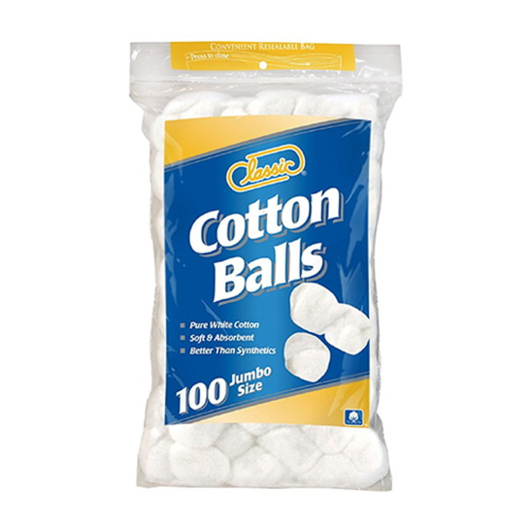 Classic Triple Size Cotton Balls, 100 Ea