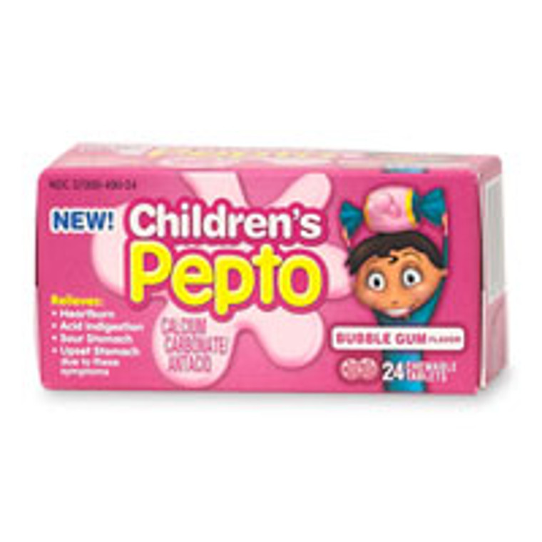 Pepto-Bismol Children Chewable Tablets, Bubble Gum Flavor - 24 Each