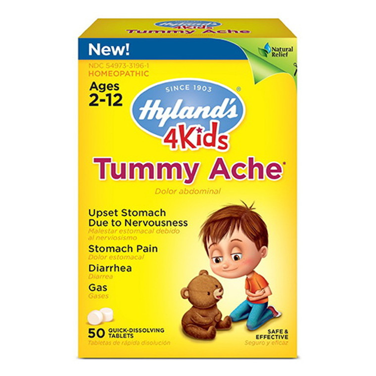 Hylands 4 Kids Tummy Ache Tablets For 2-12 Ages, Homeopathic - 50 Ea