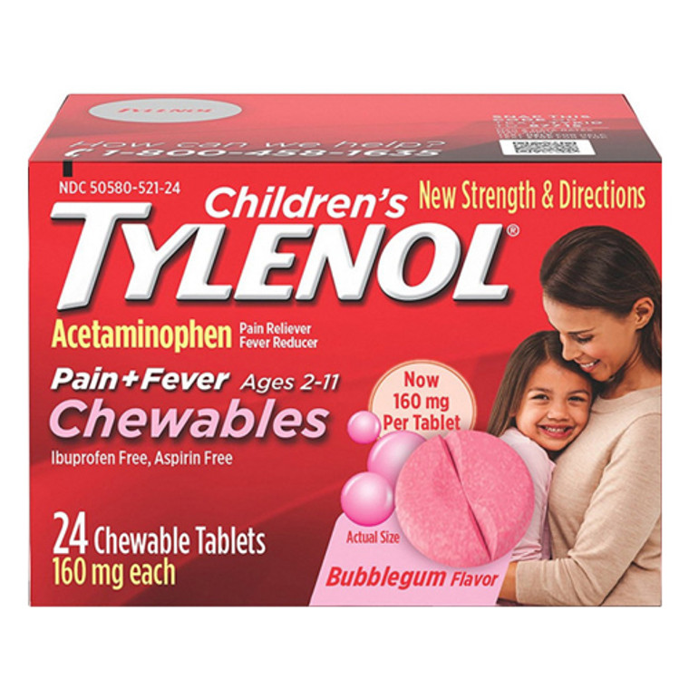 Tylenol Childrens Pain Plus Fever Reducer Chewables Tablets Bubblegum-flavored, 24 Ea