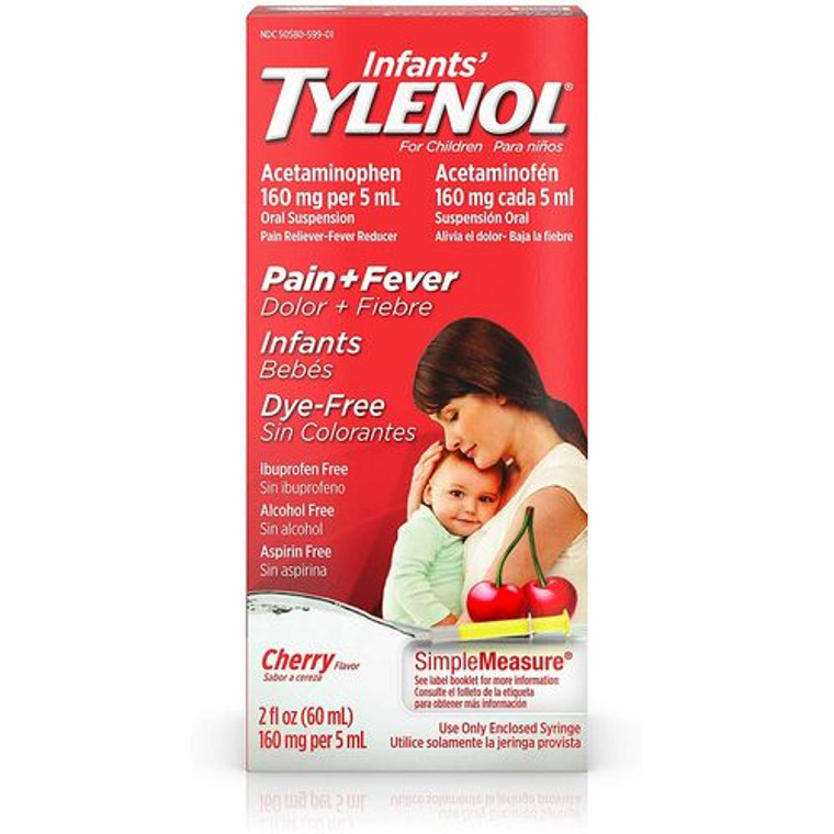 Tylenol Childerns Fever and Pain Reliever Dye-Free Liquid Cherry Flavor, 2 oz