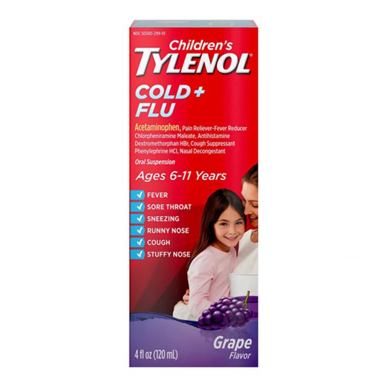 Tylenol Children?s Cold and Flu Oral Suspension, Grape, 4 Oz