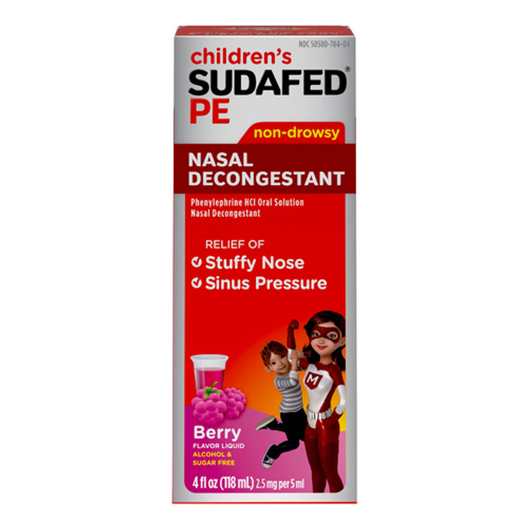 Childrens Sudafed PE Nasal Decongestant, Raspberry Flavored, 4 Oz