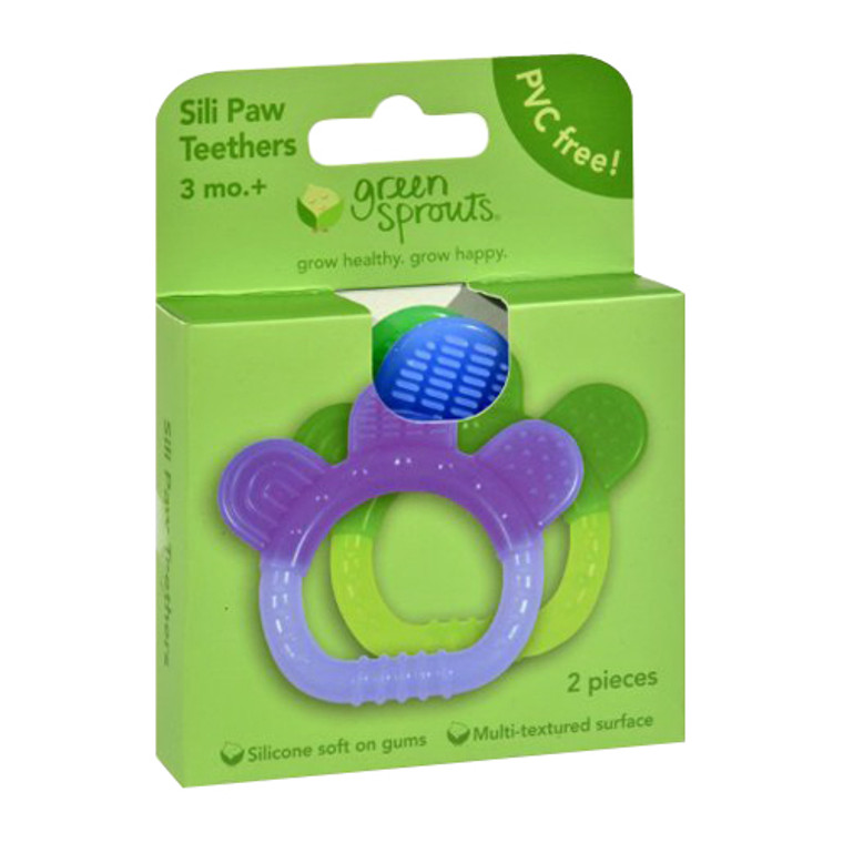 Green Sprouts Sili Paw Teether Assorted, 2 Ea