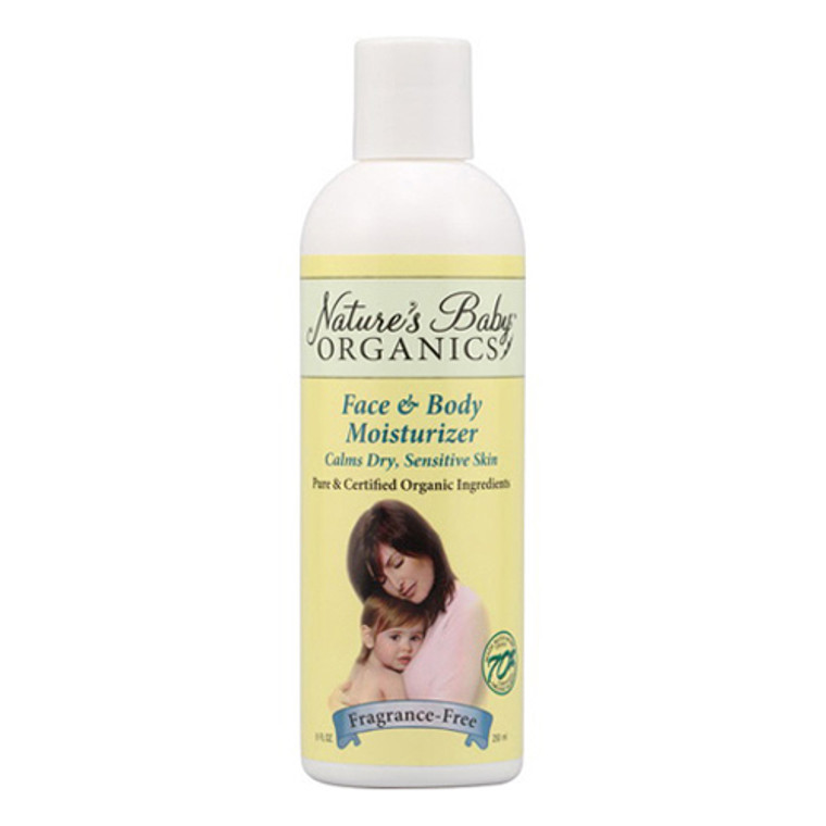 Nature'S Baby Organicss Face And Body Moisturizer For Sensitive Skin, Fragrance Free, 8 Oz