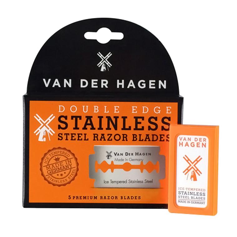 Van Der Hagen Double Edge Stainless Steel Razor Blades, 5 Ea