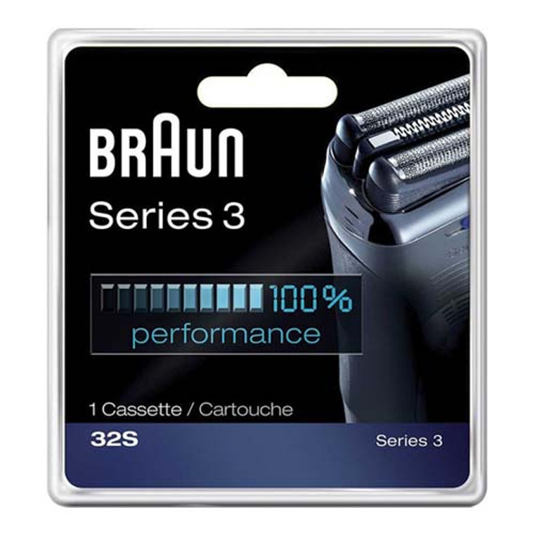 Braun Series 3 Foil And Cutter Cassette 32S Replacement Shaver Head For Mens, Silver, 1 Ea