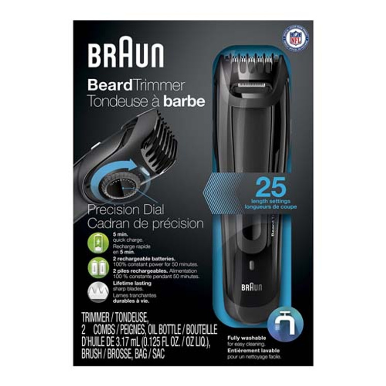 Braun BT5070 Cordless And Rechargeable Beard Hair Trimmer For Men, 1 Ea