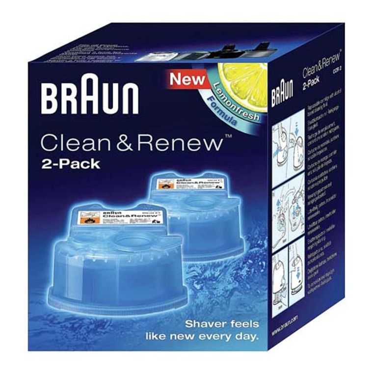 Braun Syncro Shaver System Clean And Renew Refill Cartridges, CCR2, 2 Ea/Pack