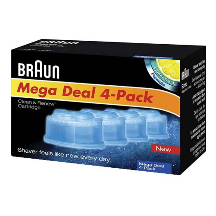 Braun Shaver System Clean And Renew Frustration Free Refill Cartridges, CCR4, 4 Ea/Pack