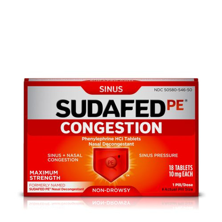 Sudafed PE Congestion Maximum Strength Sinus Pressure And Nasal Congestion Relief Tablets, 18 Ea