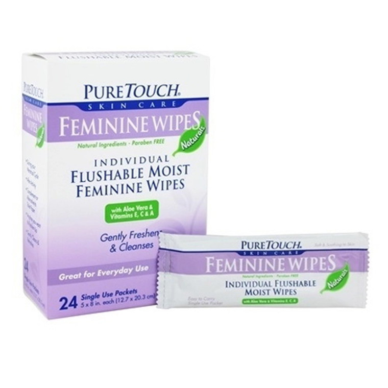 Pure Touch Skin Care Individual Flushable Moist Feminine Wipes Packets, 24 Ea