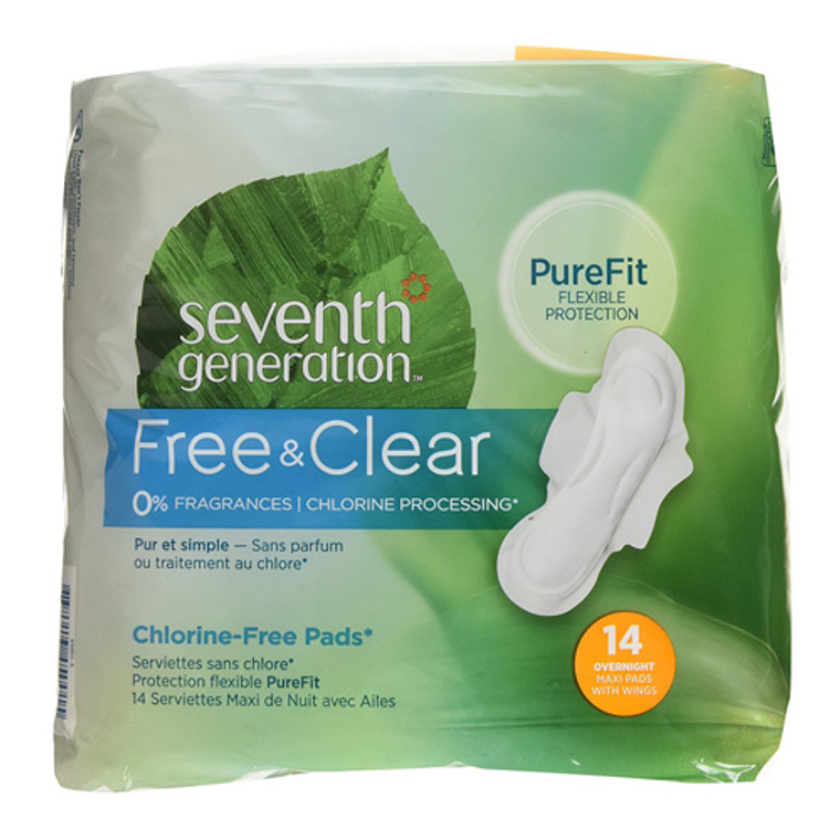 Seventh Generation Chlorine Free Maxi Pads Overnight With Wings, 14 Ea