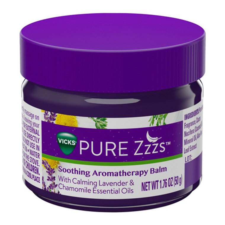 Vicks PURE Zzzs Soothing Aromatherapy Balm with Essential Oils, 1.76 Oz