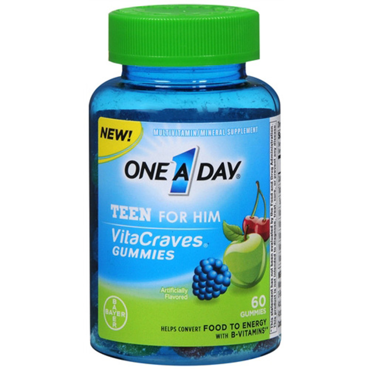 One A Day Vitacraves Teen For Him Assorted Multivitamin Gummies - 60 Ea