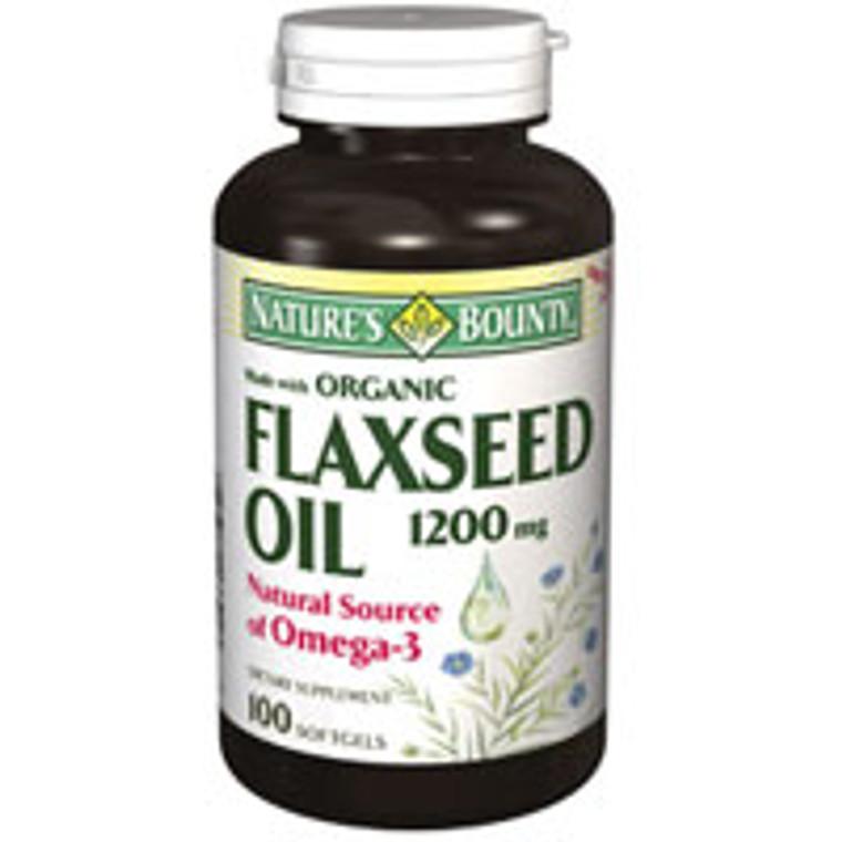 Natures Bounty Flaxseed Oil 1200 Mg, Omega 3 Softgels - 100 Ea