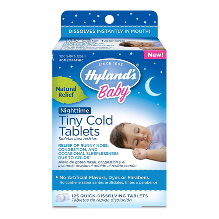 Hylands Baby Nighttime Tiny Cold Tablets, Natural Symptom Relief of Runny Nose, 125 Ea
