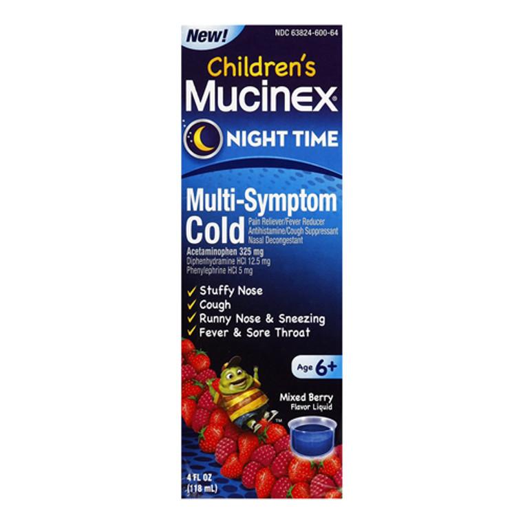 Mucinex Childrens Multi-Symptom, Night Time Cold Liquid, Mixed Berry, 4 oz
