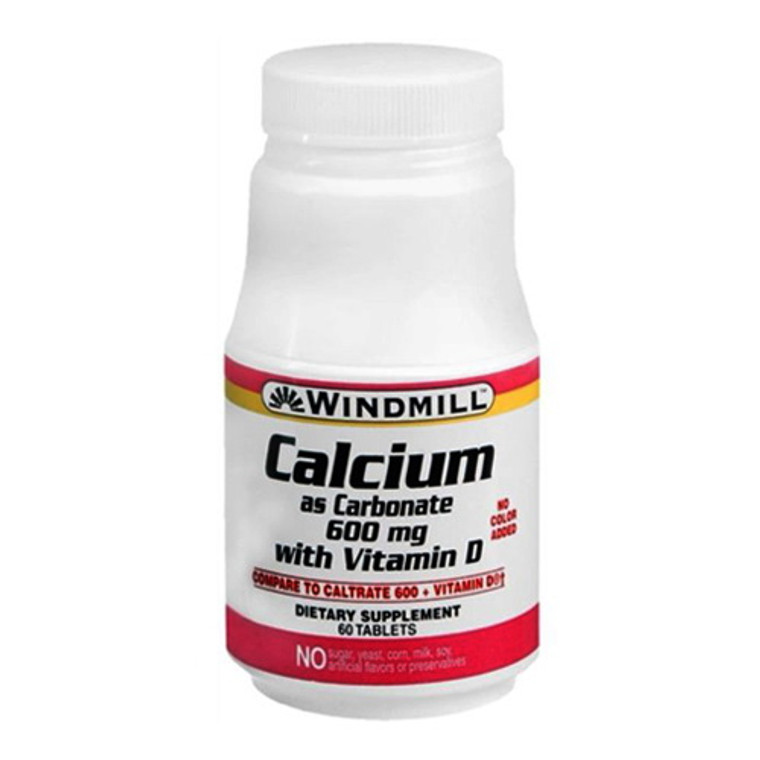 Windmill Calcium As Carbonate With Vitamin D, 600 Mg Tablets - 60 Ea