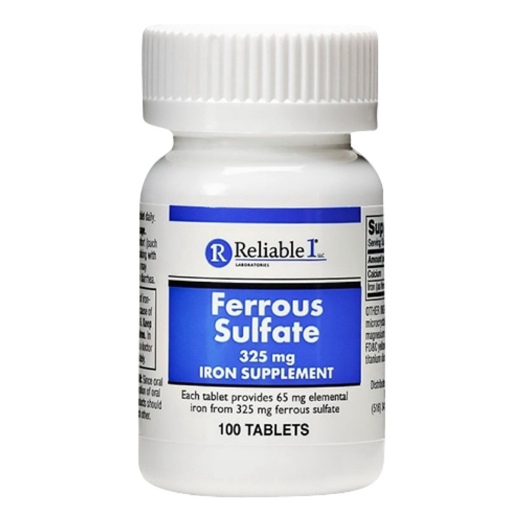 Reliable 1 Laboratories Ferrous Sulfate 325 mg Iron supplement Tablets, 100 Ea