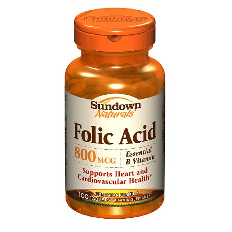 Folic Acid 800 Mcg Vitamin Supplement Tablets By Sundown - 100 Tablets